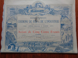 FRANCE - PARIS 1889 - BANQUE GENERALE DES CHEMINS DE FER & DE L'INDUSTRIE - ACTION DE 50 FRS - PEU COURANT - Zonder Classificatie