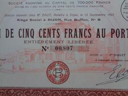 """FRANCE -  21  - DIJON 1929 - """" LA CROIX BLANCHE à NUITS-ST GEORGES """"  , HOTEL - ACTION DE 500 FRS - Zonder Classificatie"""