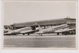 Vintage Rppc KLM K.L.M Royal Dutch Airlines Douglas Dc-3 @ Schiphol Airport - 1919-1938: Between Wars