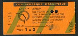 Métro - RATP - RER - 2 Zones - Contre-marque Magnétique - Type 50 U - Europe
