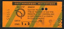 Métro - RATP - RER - 2 Zones - Contre-marque Magnétique - Type 50 V - Europe
