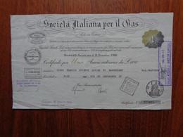 ITALIE - TORINO 1955 - STE ITALIANA PER IL GAS - TITRE  DE 1 ACTION DE 1 000 LIRES - Zonder Classificatie