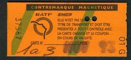 Métro - RATP - RER - Sans Zones - Contre-marque Magnétique - Type 01 G - Europe