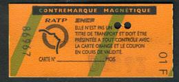 Métro - RATP - RER - Sans Zones - Contre-marque Magnétique - Type 01 F - Europe