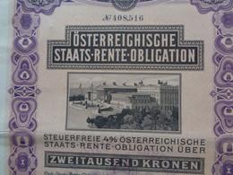 AUTRICHE - VIENNE 1910 - OSTERREIGHISGHE, STAATS-RENTE-OBLIGATION - 4% , 2 000 COURONNES - Zonder Classificatie