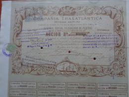 ESPAGNE - BARCELONA 1881 - COMPANIA TRANSATLANTICA - ACTION DE 2 500 PESETAS - AVEC TIMBRES FISCAUX NEUFS - Zonder Classificatie