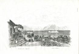 Antique Engraving 1835 Switzerland Swiss Italy Lake Maggiore Alps Isola Bella Island - Prenten & Gravure