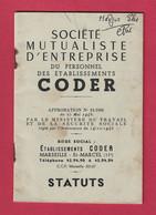 MARSEILLE - CODER - SOCIETE MUTUALISTE D'ENTREPRISE -STATUTS -  1960 - Unclassified