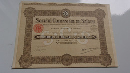 COTONNIERE DE SAIGON (capital 20 Millions) 1927 - Zonder Classificatie