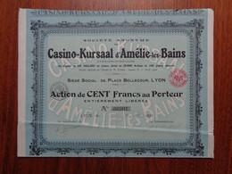 FRANCE - 69 - LYON 1924 - CASINO : SA DU CASINO-KURSAAL D'AMELIE LES BAINS - ACTION DE 100 FRS - Zonder Classificatie
