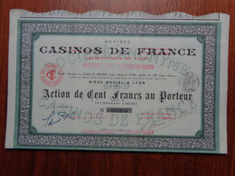 FRANCE - 69 - LYON 1914 - CASINO DE FRANCE : CASINO JARDIN DE VICHY - ACTION DE 100 FRS - Zonder Classificatie