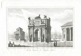 Antique Engraving 1835 Milan Porta Sempione City Gate  Arch Of Peace - Prenten & Gravure