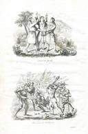 Antique Engraving 1835 Switzerland Oath Of Rütli Knight Winckelried Hero Battle Of Sempach - Prenten & Gravure