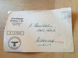 K12 Deutsches Reich 1937 Briefvorderseite Frei Durch Ablösung Heeresbauamt Freiburg - Lettres & Documents