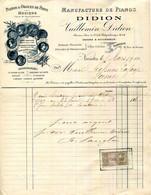 44.NANTES.MANUFACTURE DE PIANOS DIDION.VILLEMIN-DIDION 15 RUE CREBILLON,FABRIQUE 19 RUE DE RENNES. - Unclassified