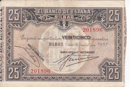BILLETE DE ESPAÑA 25 PTAS DEL BANCO DE BILBAO 1937 - FIRMA BANCO URQUIJO VASCONGADO  (BANKNOTE) - 25 Pesetas