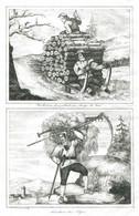 Antique Engraving 1835 Switzerland Alps Lumberjack Lumberjack Sled Carrying Firewood Hay Spit Haymaking - Prenten & Gravure