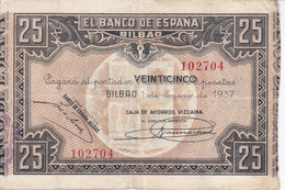 BILLETE DE ESPAÑA 25 PTAS DEL BANCO DE BILBAO 1937 - FIRMA CAJA AHORROS VIZCAINA  (BANKNOTE) - 25 Pesetas