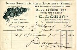 44.NANTES.FABRIQUE SPECIALE D'ARTICLES DE BOULANGERIE & MINOTERIE.C.SORIN  1 QUAI CASSARD & 1 QUAI BRANCAS. - Unclassified