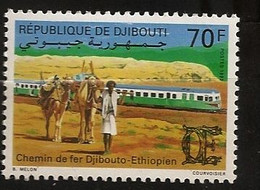 Djibouti 1992 N° 688 ** Train, Chemin De Fer, Locomotive, Dromadaires De Bât, Rails, Désert, Marchand, Bédouin, Nomade - Djibouti (1977-...)