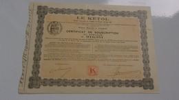 LE KETOL  (certificat) - Zonder Classificatie