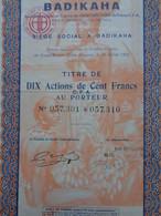 COTE D'IVOIRE - BADIKAHA 1927 - CIE AGRICOLE COMMERCIALE INDUSTRIELLE - TITRE DE 10 ACTIONS DE 100 FRS - Zonder Classificatie