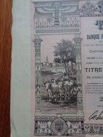 EGYPTE - ALEXANDRIE 1905 - THE LAND BANK OF EGYPT - TITRE DE 25 ACTION DE 5 £ - BELLE DECO - Zonder Classificatie
