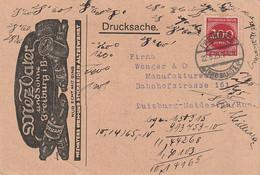 """Deutsches Reich / 1923 / Drucksachen-Klappkarte Mit Zudruck """"Naeh- Und Stickseiden"""" Ex Freiburg (D102) - Lettres & Documents"""