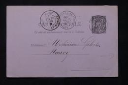 FRANCE - Entier Postal Type Sage De Vitry Le François Pour Nancy En 1881, étiquette Commerciale Au Dos  - L 79959 - Standard Postcards & Stamped On Demand (before 1995)