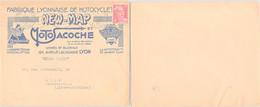 LETTRE PUBLICITAIRE FABRIQUE LYONNAISE DE MOTOCYCLETTE NEW-MAP ET MOTOSACOCHE LYON 6.2.1950  /1 - Covers & Documents