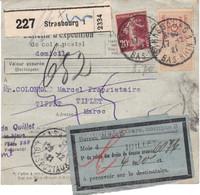 Bulletin Colis Strasbourg 1921 Pr Tifflet Maroc (destination Rare) Retour En Juillet 1922 étiq Droits De Douane - Lettres & Documents