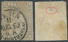 1854-62 SVIZZERA USATO ALLEGORIA SEDUTA 2 R DIFETTOSO SPELLATURA - RD32-5 - Gebraucht