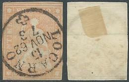 1854-62 SVIZZERA USATO ALLEGORIA SEDUTA 20 R - RD32-5 - Gebraucht