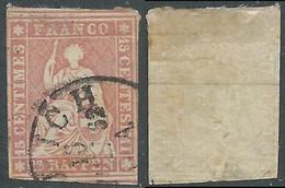 1854-62 SVIZZERA USATO ALLEGORIA SEDUTA 15 R - RD32-5 - Gebraucht
