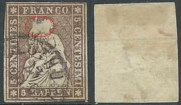 1854-62 SVIZZERA USATO ALLEGORIA SEDUTA 5 R DIFETTOSO SPELLATURA - RD32-5 - Gebraucht