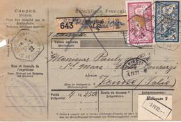 Bulletin Colis St Louis Les Bitche 1922 Pr La Suisse Griffe Française Sur étiquette Allemande - Lettres & Documents