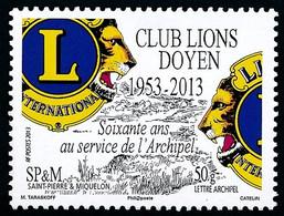 ST-PIERRE ET MIQUELON 2013 - Yv. 1088 **   Faciale= 0,95 EUR - Club Lions Doyen De SPM  ..Réf.SPM12560 - Unused Stamps