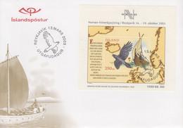 Enveloppe   FDC  1er  Jour     ISLANDE    Bloc  Feuillet    Exposition   Philatélique     NORDIA   2003 - FDC