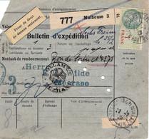 Bulletin Colis Mulhouse Franc De Droit De Douane 1929 Pr L'Allemagne Merson Post-perforés - Lettres & Documents