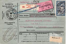 Bulletin Colis Mulhouse 1924 Pr L'Italie Avec VD De 140F 56 Francs-or - Lettres & Documents