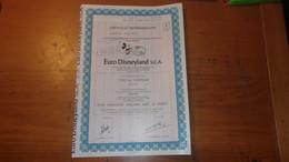 EURO DISNEYLAND (titre 1 Action) - Zonder Classificatie