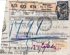 Bulletin 3 Colis Mulhouse 1925 Pr Le Portugal Timbres Perforés Y Compris 15c Colis Postaux - Lettres & Documents