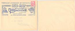 LETTRE PUBLICITAIRE FABRIQUE LYONNAISE DE MOTOCYCLETTE NEW-MAP ET MOTOSACOCHE LYON 15.2.1950  /1 - Storia Postale