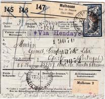 Bulletin 3 Colis Mulhouse 1926 Pr Le Portugal Timbres Perforés Y Compris 15c Colis Postaux - Lettres & Documents
