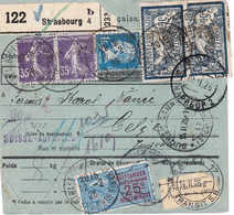 Bulletin Colis Strasbourg 1926 Pr La Yougoslavie Affranchissement Entièrement Au Recto - Lettres & Documents