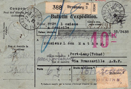 Bulletin Colis 6 Kg Strasbourg 1923 Pr Le Tchad Bloc De 10 Et Un Isolé Du 1F Merson - Lettres & Documents