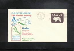 USA 1987 Space / Raumfahrt Space  Shuttle Escape System Interesting Letter - Stati Uniti