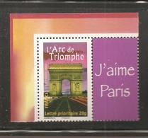 France, Personnalisé, 3599A, 3599, Avec Vignette J'aime Paris, Neuf **, TTB, L'Arc De Triomphe - Personalized Stamps