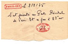 Paris Est Gare Prevôté Poste Prévôtal Attestation - Colecciones
