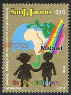 2013 - SAN MARINO - FOR THE CHILDREN - INAUGURAZIONE SCUOLA MATERNA IN MALAWI / OPENING OF NURSERY SCHOOL. USATO / USED - Gebraucht